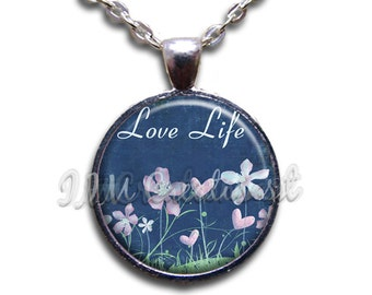Love Life Glass Dome Pendant or with Chain Link Necklace WD170