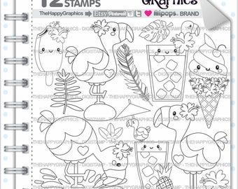 Sello de Flamingo, el 80% de uso comercial Digi Stamp, imagen Digital, Digistamp Flamingo, página para colorear Flamingo, Flamingo gráfico, imprimir
