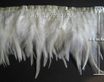 Hackle feather fringe of ivory color 5 yards trim New