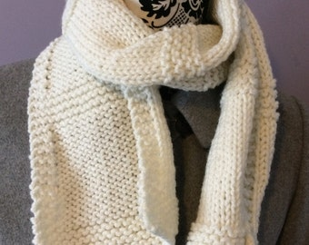 Ladies Scarf, Knitted Scarf, Winter Scarf, Hand Knit Cream Scarf, Cream Scarf, Women's Scarf