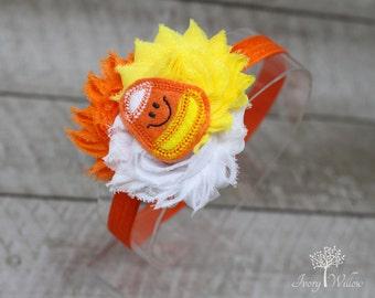 Candy Corn Headband - Halloween Headband - Halloween Candy Corn Headband - Orange Yellow and White Felt Candy Corn Headband - Baby Headband