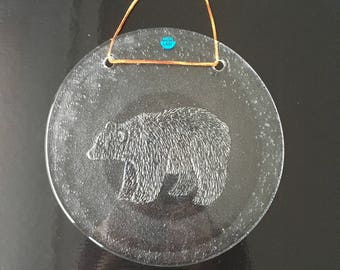 Vintage Glass Suncatcher by Merilasi Finland, Glass Sun Catcher, Collectible, Finnish Glass Window Decoration Scandinavian Design Bear 9,6''