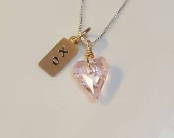 """Hand stamped """"XO"""" 14k Gold-filled tag-Blush Pink Swarovski Heart -Sterling Silver Chain"""