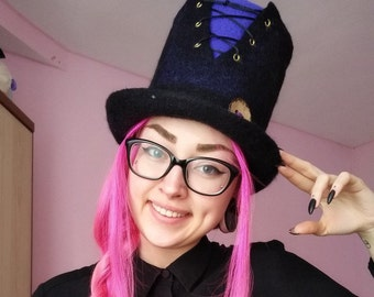 Steampunk Hat. Mad Hatter Hat. Fantasy Hat.Cosplay Hat,CUSTOM MADE, wool hat,felted hat Cylinder,costume larp hat cosplay,wizard hat