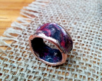 Burnt Silver Copper Ring Band.  2.5 X 13 mm Irregular Thick and Wide.