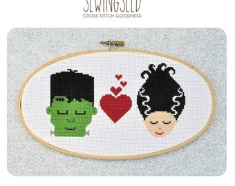 Frankenstein in Love Cross Stitch Pattern Instant Download, Bride of Frankenstein