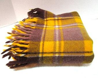 Vintage Plaid Wool Stadium Blanket, Brown + Gold, Faribo 100 Anniversary, Football Game Picnic Lap Robe, Classic Warmth Car Blanket Tailgate