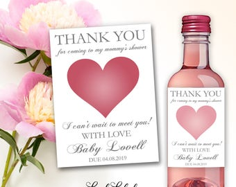 Baby Shower Thank You Favors for Coming to my Mommy's Baby Shower Showering Wine Champagne Mini Bottle Labels Unique Decor Ideas Gifts #TYB1
