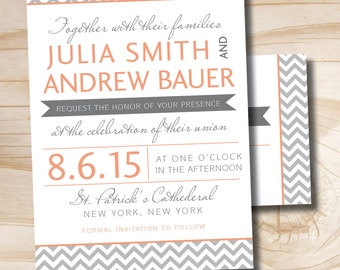 MODERN CHEVRON Invitation/Response Card  Invitation Suite