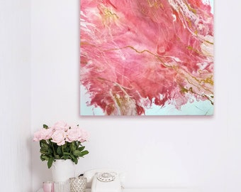 Original Abstract Painting Resin Art Rose Garden Floral Fantasy Blush Pink White Gold Modern Large Wall Art Modern Home Decor Gift for Her