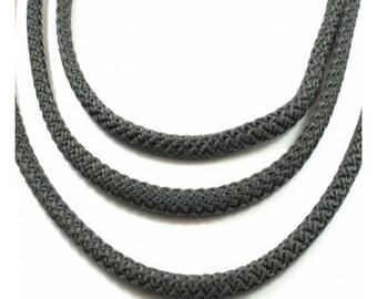 Braided rope diameter 5 mm, gray, dark, by the yard