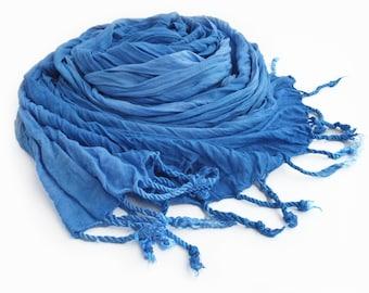 Blue scarf, blue crinkle scarf, blue fringe scarf, blue scarves, ladies blue scarves, womens scarves, blue boho scarf, vegan scarves, sky