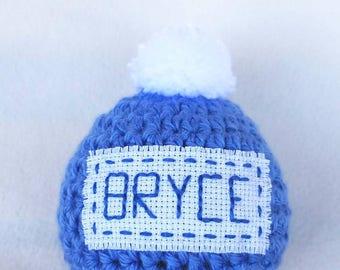 Crochet handmade beanie hat cap premie infant baby child customize name