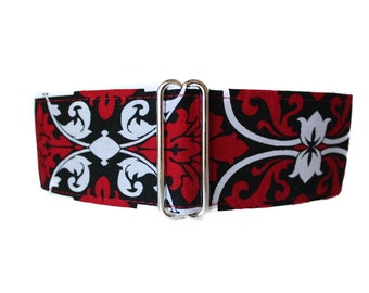 Red Martingale Dog Collar Greyhound Martingale Collar, Red Black and White Dog Collar, Damask, Sighthound Collar, Red Dog Collar