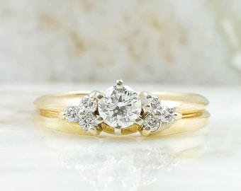 14/10K Yellow Gold 0.45ctw Round Diamond Engagement Ring & Band Set Size 7.25