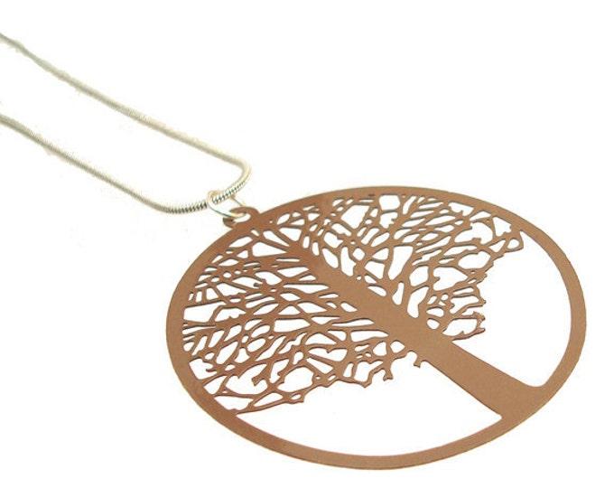 Enameled Filigree Tree Pendant in Brown Valentine gift