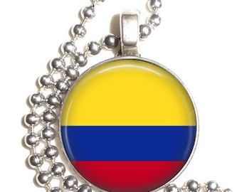 Colombia Flag Art Pendant, Earrings and/or Keychain, Round Photo Silver and Resin Charm Jewelry, Flag Earrings, Flag Key Fob