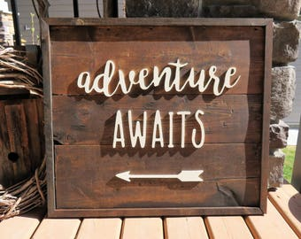 Large 'Adventure Awaits' Wood Sign - Rustic, Cabin, Country Cottage, Lakehouse, Farmhouse, Shabby, Vintage, Wood Plank Sign, CNC Router
