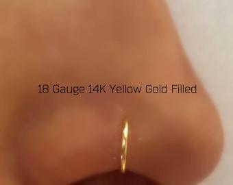 18 Gauge 14K Yellow Gold Filled Nose Ring Hoop Piercing