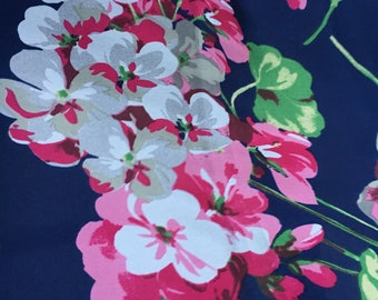 Navy Floral with Pink and Magenta