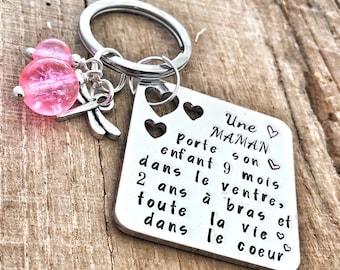 French Mother Keyring, Maman Keyring, French Love Keyring