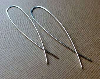Long Minimalist Earrings. Sterling Silver. Simple Modern Handmade Jewelry.  Gift for her.