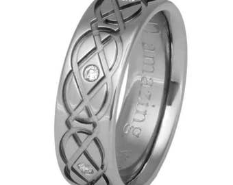 Celtic Titanium Wedding Band  - Titanium Diamond Ring - Irish Wedding Band - Infinity - ck43