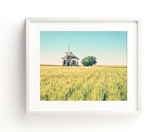 "landscape photography, wheat field, schoolhouse, large art, large wall art, modern, contemporary, wall art prints, art - ""School's Out"""