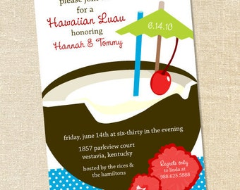 Sweet Wishes Tropical Luau Party Invitations - PRINTED - Digital File Also Available