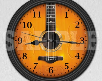 Acoustic Guitar Decorative Wall Clock - Music Decor - Musician Gift ITEM#025