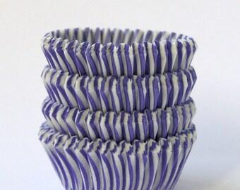 SALE: MINI Purple Stripe Cupcake Liners, Mini Stripe Cupcake Liners, Lavender Stripe Mini Liners, Purple Cupcake Liners (60)