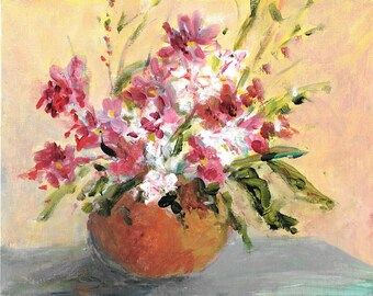 Original floral painting 8x10 Bowl of Pink and white flowers