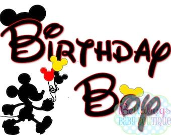 Mickey Mouse Birthday Boy IRON ON TRANSFER - Tshirt - Bodysuit - Boy - Tote Bags
