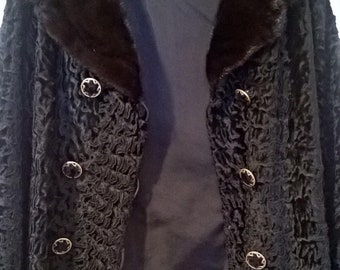 Stunning Vintage Black Persian Lamb Jacket with Mink Fur Collar and Cuffs -  FREE SHIPPING