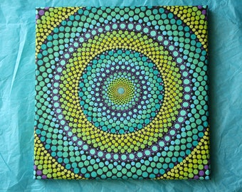 "Hand painted green, blue, and purple mandala on canvas 10""x10"" dot pointillism art"