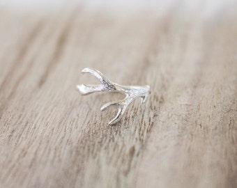 Antler ring, antlers, sterling silver antler ring, silver antler ring, sterling silver rings, antler jewelry, sterling antler ring