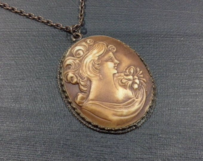 Vintage Victorian Oval Bisque Porcelain Cameo Pendant Set in Copper Frame & Chain Necklace