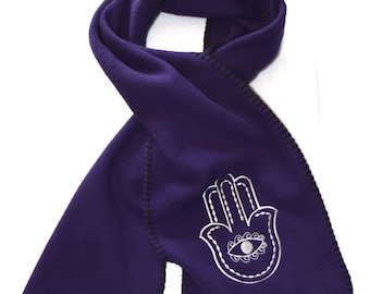 Hamsa Scarf Embroidery Stitched on Purple Fleece Scarf Embroidered with White thread - Ready to Ship