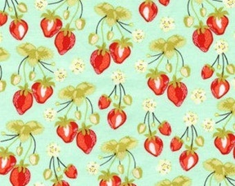 MEADOWSWEET 2 by Sandi Henderson, Strawberry Fields in Robins Egg, 1 yard