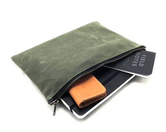 Waxed Canvas Zip Accessory Pouch