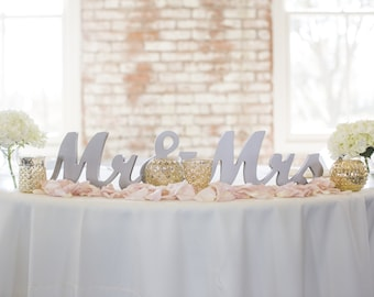 Mr and Mrs Wedding Sign for Wedding Sweetheart Table, Mr and Mrs Letters, Large Thick Mr & Mrs Sign Set (Item - MTS100)