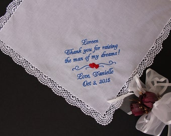 Wedding Hankie,Thank you for raising the man of my dreams, Hanky, Mother of the Groom Gift, Ivory or White, personalised wedding. LS0F38