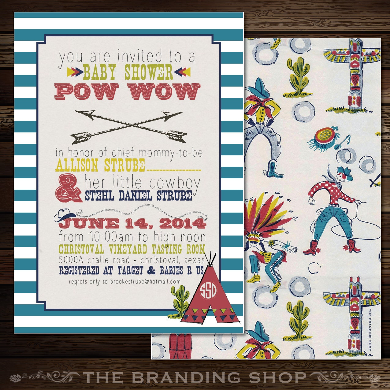 Cowboys & Indians 5x7 Baby Shower Invitation two sided