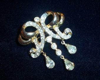Vintage Signed Cordina Dangle Drop Rhinestone Deco Style Brooch Pin & Pendant