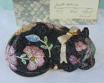 JUDITH LEIBER Sleeping Cat Purse, Designer Handbags, Luxury Purses, High End Purses, Purses For Red Carpet, Collectors, Entertainers, Derby