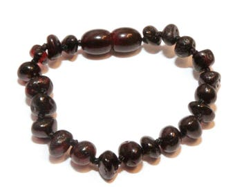 Genuine Baltic Amber Baby Teething Bracelet Anklet Black Polished Beads 13 - 14 cm / 5.1 - 5.9 in