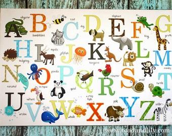 Alphabet ABC Wall Art Canvas Girls Boys Bedroom Playroom Kids Art CANVAS Teacher Classroom Decor CS0047