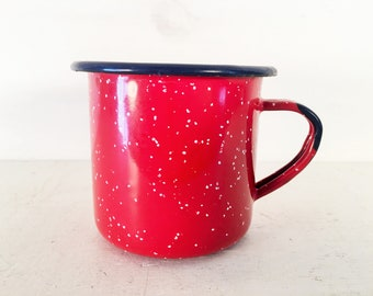 Small Red and White Speckled Enamelware Mug with Royal Blue Accent/Farmhouse Kitchen Red White and Blue Speckled Enamel Cup/Shabby Chic Cup