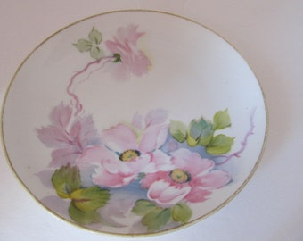 Nippon Hand Painted Plate - Pink Flowers