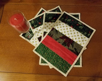 Set of 4 Cotton Quilted Winter Place Mats/Table Toppers/CandleMats/Christmas Use/Reversible/Dining Decor/Kitchen Use/Holiday Gift